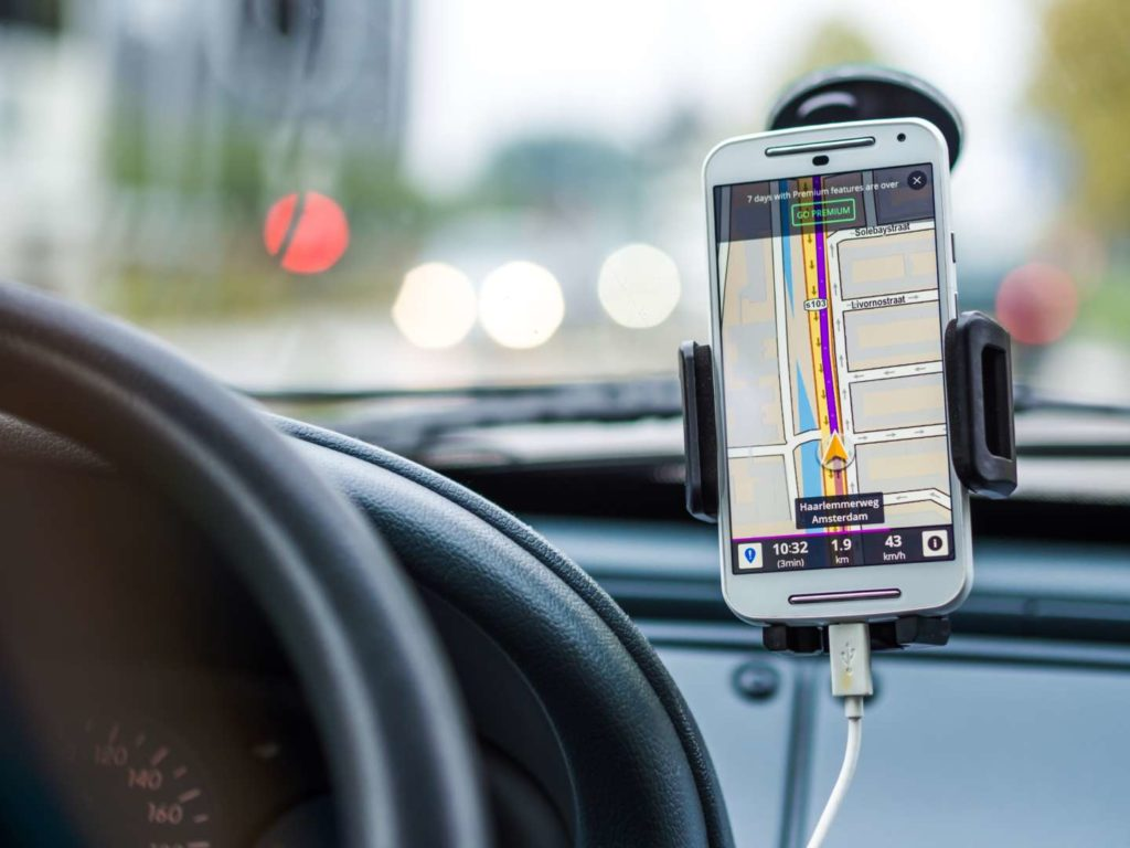 Mounted phone for hands-free driving